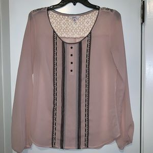 Light pink and black blouse